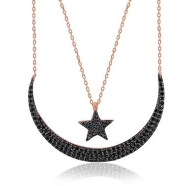 Büyük Boy Çift Zincirli Ayyıldızı Kolye-Söğütlü Silver